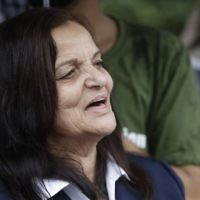Rasmea Odeh of Chicago stands outside the Theodore Levin US Courthouse in Detroit, Aug. 17, 2017, for a final court hearing before she's eventually deported for concealing her convictions in two Jerusalem bombings. (AP Photo/Carlos Osorio)