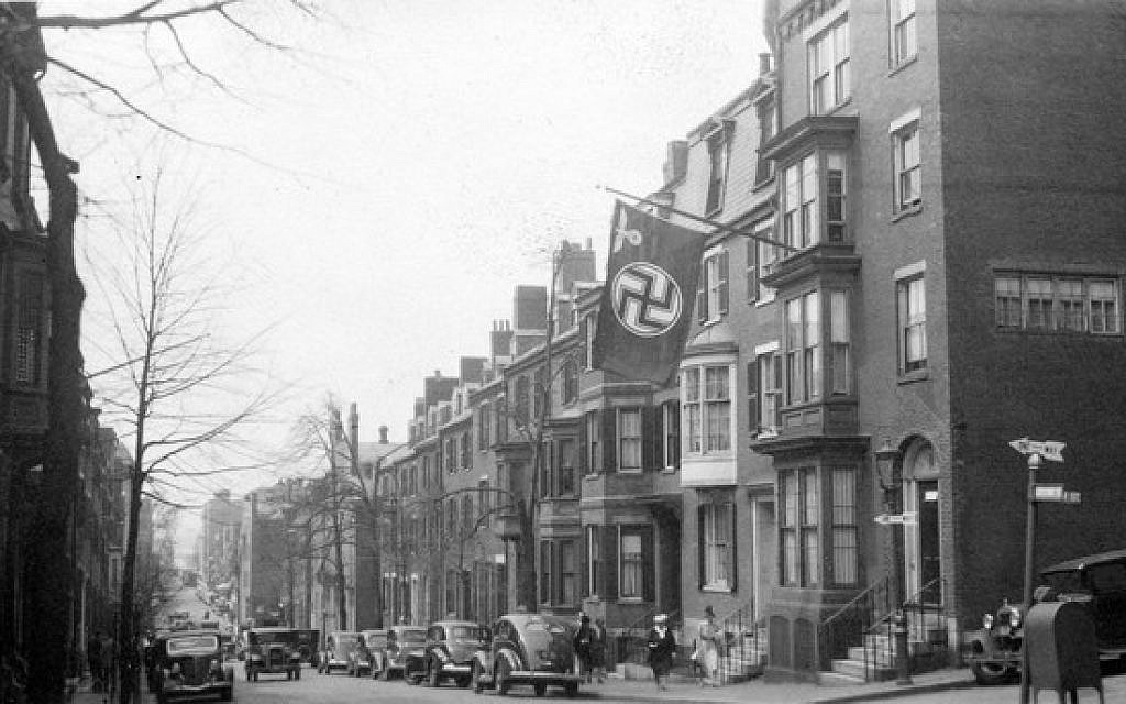 A Nazi flag outside the German consulate's house on Chestnut Street in Beacon Hill, May 1940. (public domain)