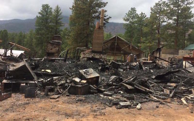 The remains of the Camp Ramah Rockies site after a fire, August 7, 2017. (North Fork Fire Rescue/Facebook via JTA)