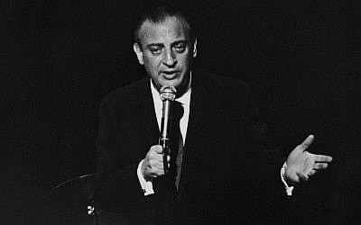 American actor and comedian Rodney Dangerfield (1921 - 2004) performing for the inmates at Rikers Island Jail, New York, circa 1969. (Photo by Susan Schiff Faludi/Three Lions/Hulton Archive/Getty Images, via JTA)
