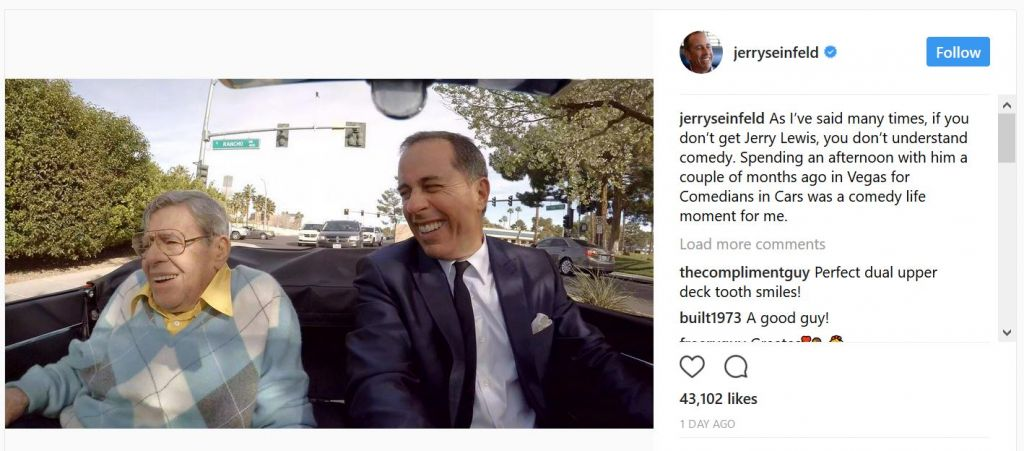 Jerry Seinfeld and Jerry Lewis on an episode of 'Comedians in Cars Getting Coffee' taped months before Lewis's death.