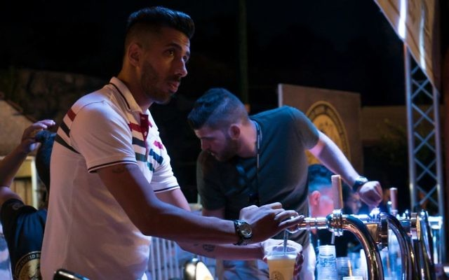 The bar at the Shepherds Beer Festival, August 20, 2017. (Luke Tress/Times of Israel)