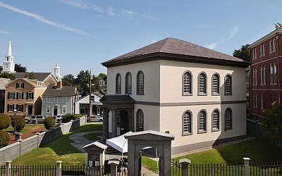 Touro Synagogue, nestled in historic Newport, Rhode Island, is the oldest extant synagogue in the United States, seen on September 2, 2004. (John Nordell/The Christian Science Monitor via Getty Images/via JTA)