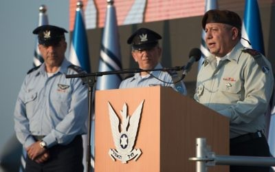 IDF Chief of Staff Gadi Eisenkot speaks during a ceremony at the Tel Nof Air Base on August 14, 2017. (Israel Defense Forces)
