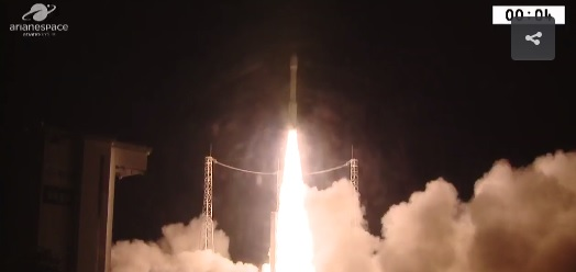 The VENµS satellite is launched from South America on August 2, 2017 (screen capture: Israel Space Agency)