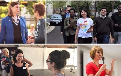 Clockwise from top left: Elissa Slotkin, in blue jacket; Hannah Risheq, in white shirt; Laura Moser; Lisa Mandelblatt, in black shirt. (Courtesy via JTA)