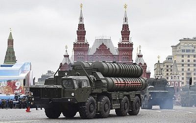 This file photo taken on May 9, 2017, shows the Russian S-400 missile defense system during a Victory Day military parade in Moscow's Red Square. (AFP Photo/Natalia Kolesnikova)