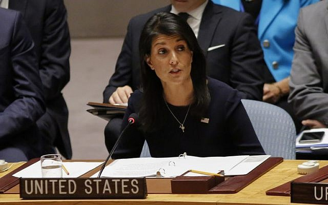 United States Ambassador to the United Nations Nikki Haley addresses a UN Security Council emergency meeting, September 4, 2017. (AFP/Kena Betancur)