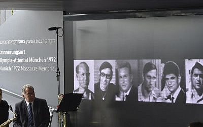 Portraits of some of the Israeli athletes murdered at the 1972 Munich Olympics at the Olympic Village are displayed inside the Memorial Center on September 6, 2017 in Munich, Germany. (AFP PHOTO / Christof Stache)