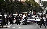 Illustrative: Police cordon off a street in Villejuif, a suburb of Paris, on September 6, 2017, as two men were arrested after the discovery of explosives and bomb components at an apartment. (AFP/Christophe Simon)