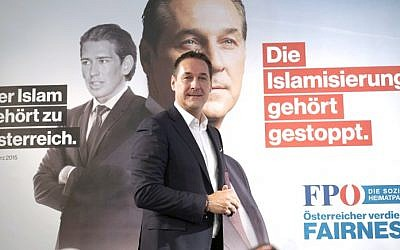 Chairman of the Freedom Party of Austria (FPOe) Heinz-Christian Strache attends a press conference at FPOe headquarters in Vienna, Austria, on September 8, 2017. (AFP Photo/Joe Klamar)
