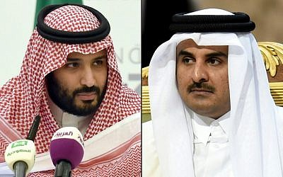 This combination of pictures created on September 9, 2017 shows then-Saudi Defence Minister and Deputy Crown Prince Mohammed bin Salman (L) during a press conference in the capital Riyadh on April 25, 2016; and Qatar's Emir Sheikh Tamim bin Hamad Al-Thani (R) attending the 136th Gulf Cooperation Council (GCC) summit in Riyadh on December 10, 2015. (AFP/Fayez Nureldine)