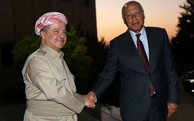 Iraq's Kurdistan Region President Massoud Barzani (L) receives Arab League Secretary General Ahmed Abul Gheit on September 9, 2017, in Irbil, the capital of the Kurdish autonomous region in northern Iraq. (AFP/Safin Hamed)