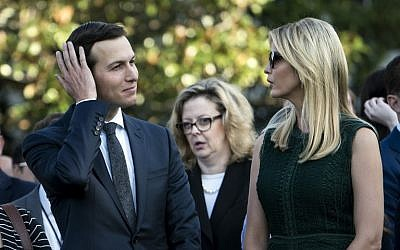 Senior Adviser Jared Kushner (l) and Ivanka Trump wait on the South Lawn of the White House during a memorial service for the 9/11 terrorist attacks September 11, 2017 in Washington, DC. (AFP PHOTO / Brendan Smialowski)