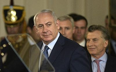 Israeli Prime Minister Benjamin Netanyahu before a press conference at the Casa Rosada presidential house in Buenos Aires on September 12, 2017. (AFP/ JUAN MABROMATA)
