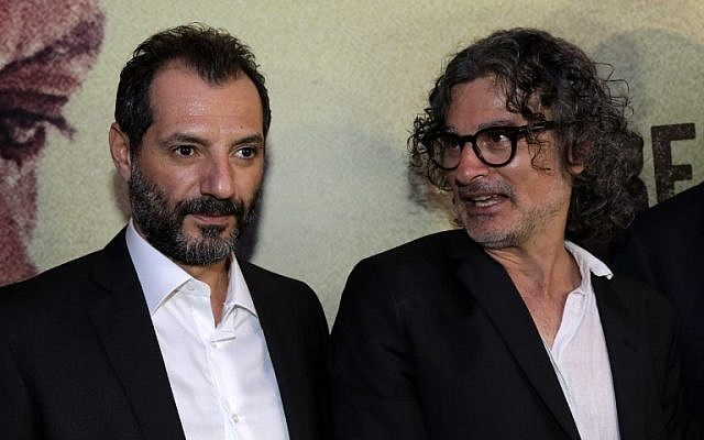"Lebanese-French director Ziad Douieri (R) poses with actor Adel Karam at the pre-screening of ""The Insult"" in Beirut on September 12, 2017.  (AFP PHOTO / ANWAR AMRO)"