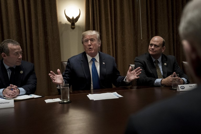 US President Donald Trump Addresses A Meeting With Lawmakers In The Cabinet  Room Of The White