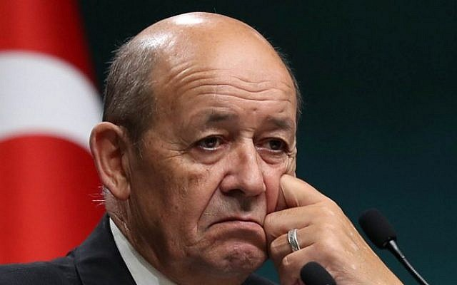 French Minister for Foreign and European Affairs Jean-Yves Le Drian in the Turkish capital Ankara, on September 14, 2017. (AFP PHOTO / ADEM ALTAN)