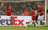Hapoel Beersheba's Israeli midfielder Daniel Einbinder reacts after scoring during the UEFA Europa League football match between Hapoel Beer-Sheva FC and FC Lugano on September 14, 2017 at the Turner Stadium in Beersheba. (AFP PHOTO / JACK GUEZ)