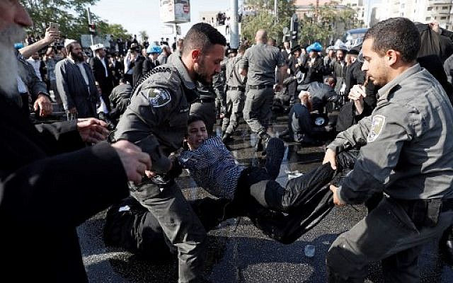 8 arrested during Haredi protest against arrest of draft-dodger