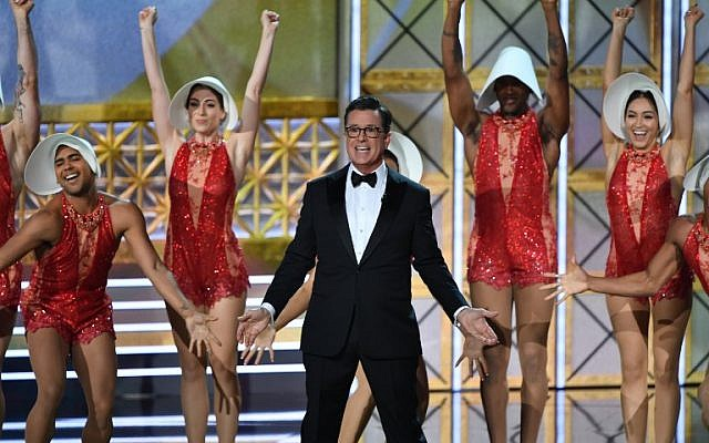 Host Stephen Colbert dances onstage during the 69th Emmy Awards at the Microsoft Theatre on September 17, 2017 in Los Angeles, California. (AFP/Frederic J. Brown)