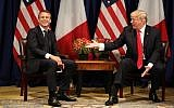 France's President Emmanuel Macron (L) laughs alongside US President Donald Trump before their meeting at New York's Palace Hotel ahead of the 72nd session of the United Nations General Assembly on September 18, 2017. (AFP Photo/Ludovic Marin)