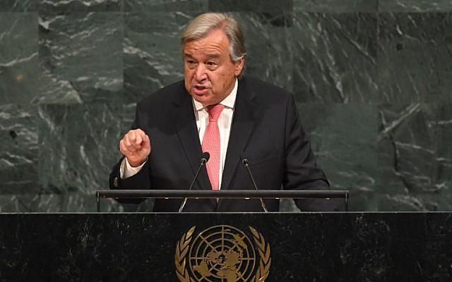 UN Secretary-General Antonio Guterres addresses the 72nd session of the United Nations General Assembly at UN headquarters in New York on September 19, 2017. (AFP Photo/Timothy A. Clary)