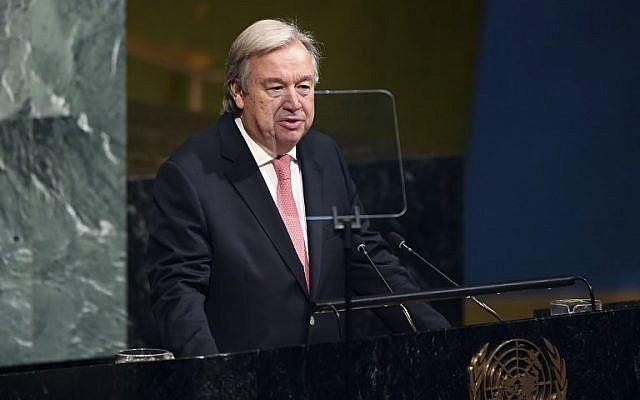 UN Secretary-General Antonio Guterres addresses the 72nd session of the United Nations General Assembly at UN headquarters in New York on September 19, 2017. (AFP Photo/Jewel Samad)