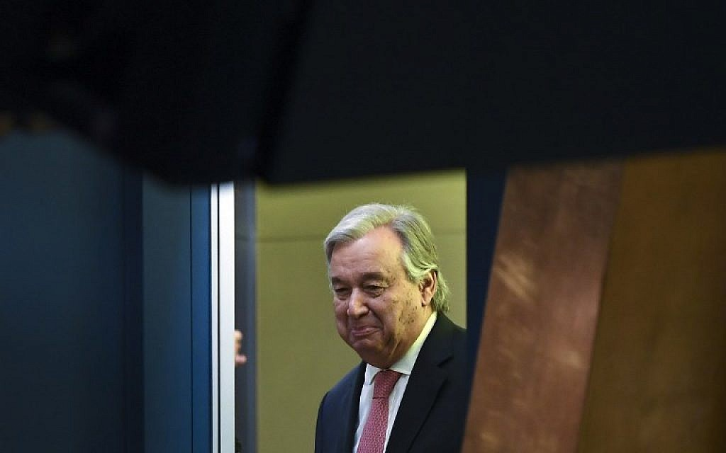 UN Secretary-General Antonio Guterres arrives at the 72nd session of the United Nations General Assembly at UN headquarters in New York on September 19, 2017. (AFP Photo/Jewel Samad)