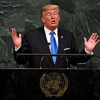 US President Donald Trump addresses the 72nd Annual UN General Assembly in New York on September 19, 2017. (AFP Photo/Timothy A. Clary)