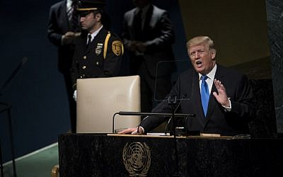 US President Donald Trump addresses the 72nd Annual UN General Assembly in New York on September 19, 2017. (AFP Photo/Brendan Smialowski)