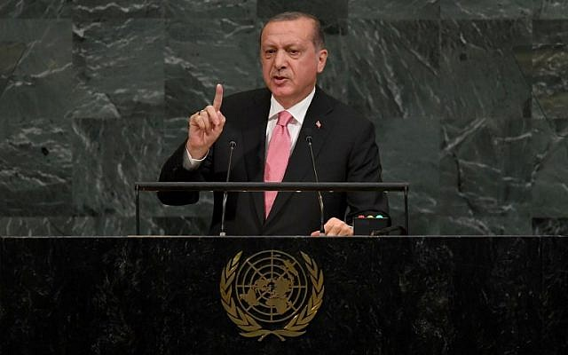 Turkish President Recep Tayyip Erdogan addresses the 72nd session of the General Assembly at UN headquarters in New York on September 19, 2017. (AFP Photo/Timothy A. Clary)