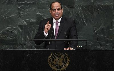 Egypt's President Abdel Fattah al-Sisi addresses the 72nd session of the United Nations General Assembly at the UN headquarters in New York on September 19, 2017.  (AFP/Jewel SAMAD)