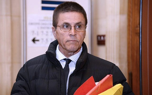 This file photo taken on May 24, 2016, shows Hassan Diab, who was arrested in November 2008 for his alleged role in a 1980 Paris synagogue bombing, as he arrives at the courthouse in Paris. (AFP/Bertrand Guay)