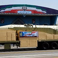 The new Iranian long range missile Khoramshahr is displayed during the annual military parade marking the anniversary of the outbreak of the 1980-1988 war with Saddam Hussein's Iraq, on September 22,2017 in Tehran. (AFP PHOTO / str)