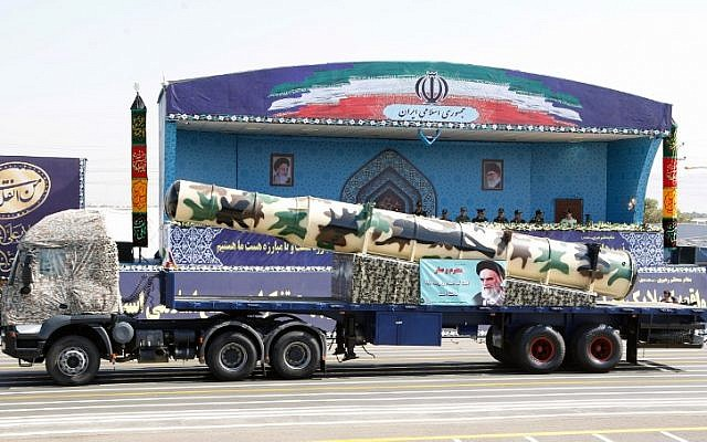 An Iranian Russian-made s-300 missile is displayed during the annual military parade marking the anniversary of the outbreak of its devastating 1980-1988 war with Saddam Hussein's Iraq, on September 22,2017 in Tehran. (AFP/ str)