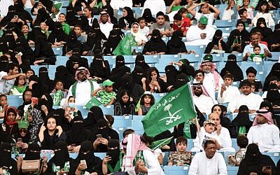 Saudis attend an event in the capital Riyadh commemorating the anniversary of the founding of the kingdom, on September 23, 2017. (AFP/Fayez Nureldine)