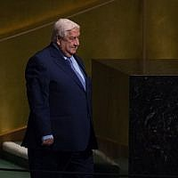 Syrian Foreign Minister Walid Muallem arrives to address the 72nd Session of the United Nations General assembly at UN headquarters in New York on September 23, 2017. (AFP Photo/Bryan R. Smith)