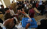 Iraqi Kurds casts their votes in the Kurdish independence referendum in the city of Kirkuk in northern Iraq, on September 25, 2017. (AFP PHOTO/AHMAD AL-RUBAYE)