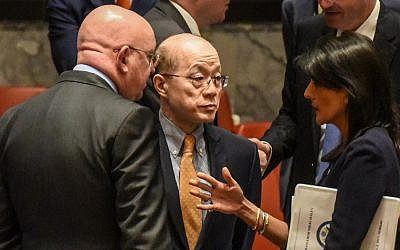 US Ambassador to the UN, Nikki Haley, right, speaks on the sidelines with Chinese Ambassador Liu Jieyi, center, and with Russian Ambassador Vasilly Nebenzia after a United Nations Security Council meeting on North Korea in New York City, September 4, 2017. (Stephanie Keith/Getty Images/AFP)