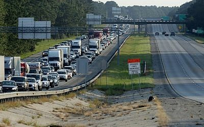 Southbound lanes of I-95 near the Georgia-South Carolina border are empty as northbound lanes are packed as people evacuate ahead of the arrival of Hurricane Irma September 8, 2017, in Savannah, Georgia. (Chip Somodevilla/Getty Images/AFP)