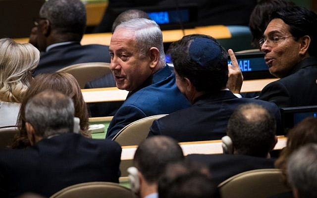 Prime Minister Benjamin Netanyahu, before the start of US President Donald Trump's speech at the United Nations General Assembly at UN headquarters in New York, on September 19, 2017. (Drew Angerer/Getty Images/AFP)