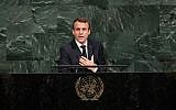 French President Emmanuel Macron addresses the United Nations General Assembly at UN headquarters in New York on September 19, 2017. (Drew Angerer/Getty Images/AFP)