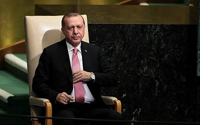 Turkish President Recep Tayyip Erdogan sits after addressing the United Nations General Assembly at UN headquarters in New York on September 19, 2017. (Drew Angerer/Getty Images/AFP)