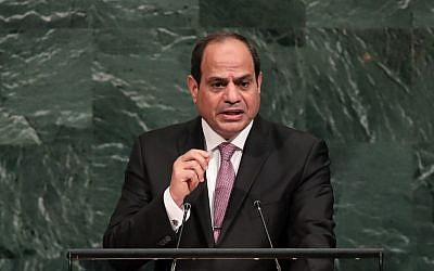 Abdel Fattah el-Sissi, president of Egypt, addresses the United Nations General Assembly at UN headquarters, September 19, 2017 in New York city.(Drew Angerer/Getty Images/AFP)