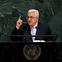 Palestinian Authority President Mahmoud Abbas addresses the United Nations General Assembly at UN headquarters, September 20, 2017 in New York City. (Drew Angerer/Getty Images/AFP)
