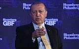 Turkish President Recep Tayyip Erdogan speaks at the Bloomberg Global Business Forum in New York City, September 20, 2017. (John Moore/Getty Images/AFP)