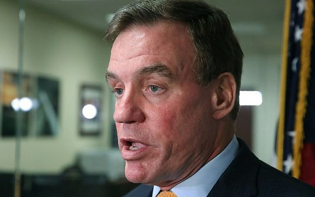 WASHINGTON, DC - SEPTEMBER 28: Sen. Mark Warner (D-VA), Senate Intelligence Committee ranking member, speaks to the media about today's committee staff members meeting with two Twitter officials on September 28, 2017 in Washington, DC. (Mark Wilson/Getty Images/AFP)