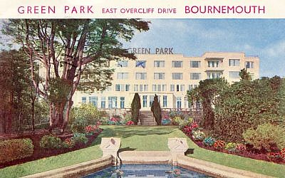 Detail from vintage post card from The Green Park hotel in Bournemouth, England (Courtesy)