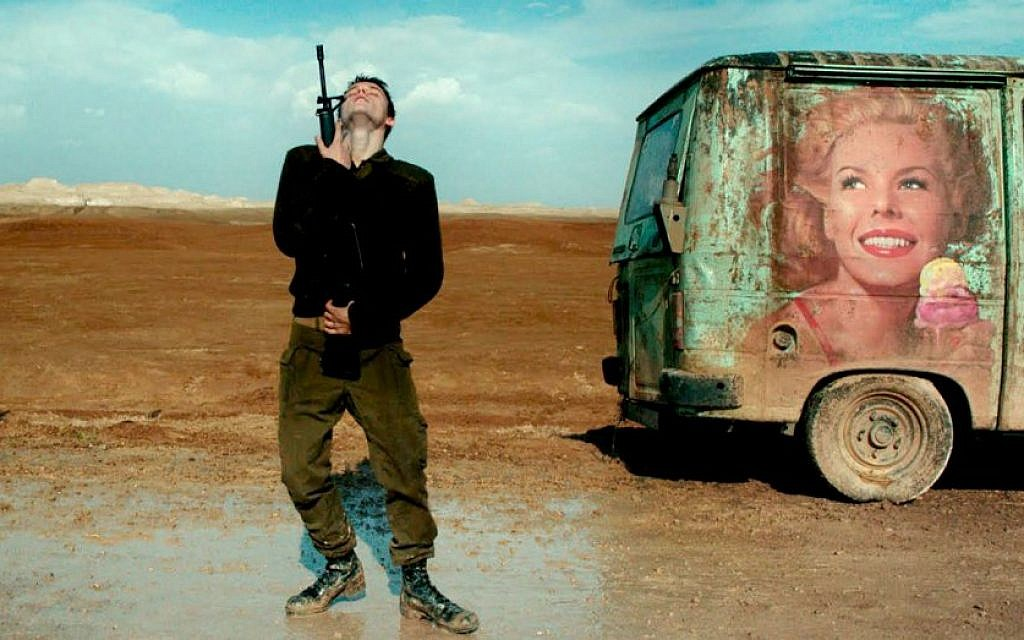 Yonatan Shiray, now an active combat soldier, in his foxtrotting scene in the award-winning film 'Foxtrot' (Courtesy 'Foxtrot')